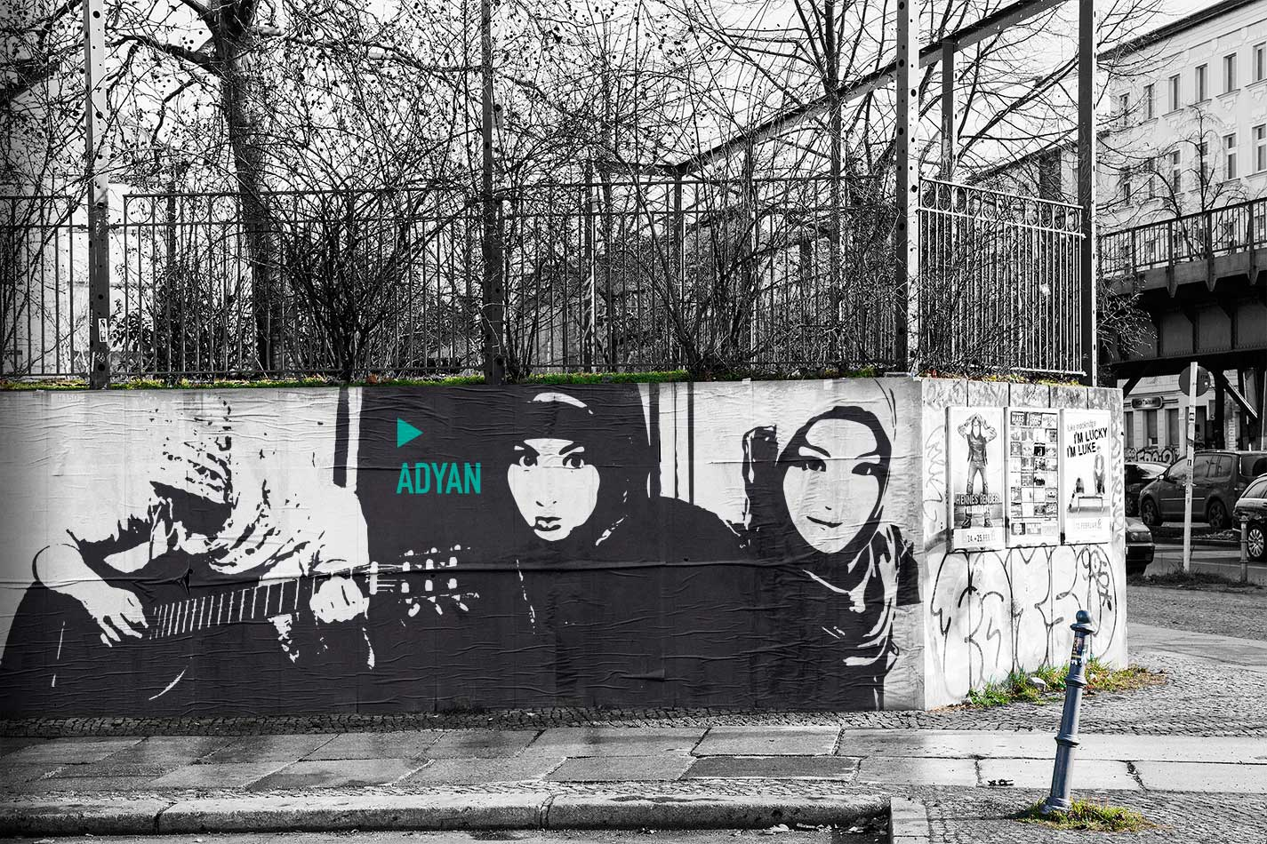 Foto/Illustration Kreuzberger Parkmauer mit Adyan als Paste-Up