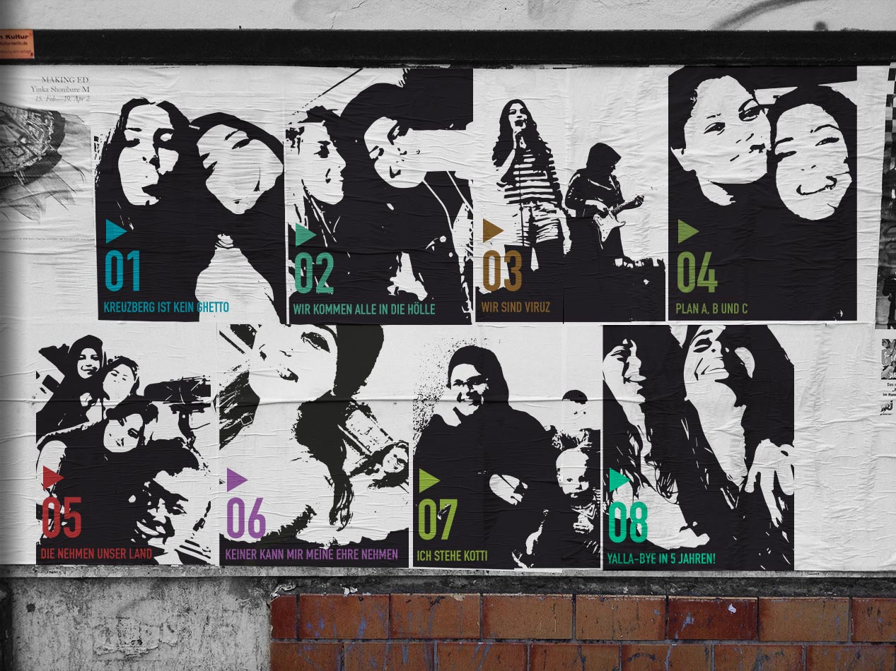 Foto/Illustration Plakatwand mit den 8 Folgen als Paste-Up